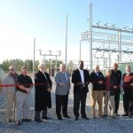 From left to right: CAEC Journeyman Lineman Kevin Powell; CAEC West Operations Manager Carl Mims; CAEC Engineering Manager Aaron Ismail; Lowndes County Industrial Development Authority members David Hutchinson and Gary Faulkner; Lowndes County Commissioner Robert Harris; CAEC Board Members C. Milton Johnson, Jimmie Harrison Jr., and Charles Byrd; CAEC President and CEO Tom Stackhouse; and CAEC Board Member Van Smith.